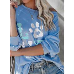 Padrão Animal Um Ombro Manga Comprida Casual Camisetas