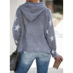 印刷 フード付き カジュアル セーター