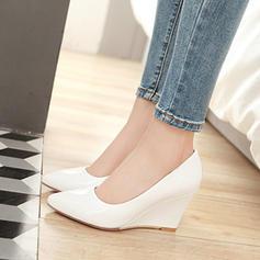 Frauen Lackleder Keil Absatz Geschlossene Zehe Keile mit Andere Schuhe