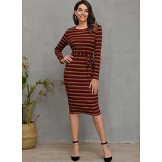 Striped Long Sleeves Bodycon Midi Casual Dresses