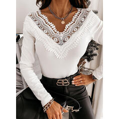 Solid Lace V-Neck Long Sleeves Elegant Blouses
