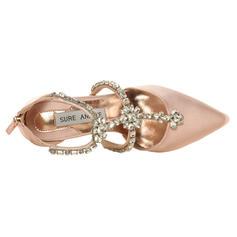 Mulheres Cetim Salto agulha Fechados Sandálias Sapatos de Casamento na Praia com Strass