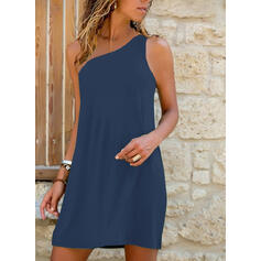 Solid Kolsuz Shift Elbiseleri Deasupra Genunchiului Negre/gündelik/Tatil Elbiseler
