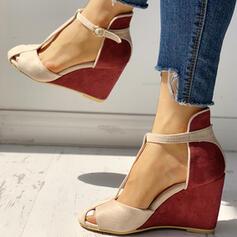 Femmes PU Talon compensé Escarpins avec Boucle chaussures