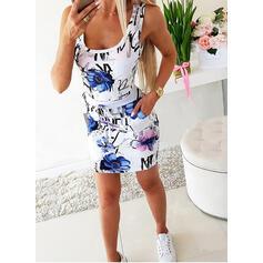 Impresión/Floral Sin mangas Ajustado Sobre la Rodilla Casual Vestidos