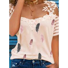 Print Feather Lace Cold Shoulder Short Sleeves Elegant Blouses