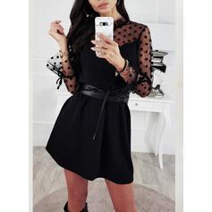 Solid/PolkaDot Long Sleeves Shift Above Knee Little Black/Elegant Tunic Dresses