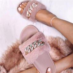 Women's Velvet Flat Heel Sandals With Rhinestone shoes