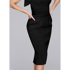 Solid Short Sleeves Bodycon Pencil Little Black/Party/Elegant Midi Dresses
