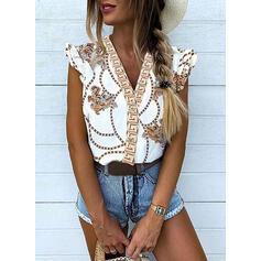 Print V-Neck Cap Sleeve Button Up Casual Blouses