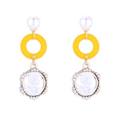 Stylish Alloy Imitation Pearls Wood Women's Fashion Earrings