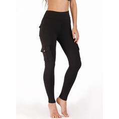 Solid Pockets Shirred Long Sexy Yoga Pants