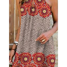 Print/Leopard Sleeveless Shift Above Knee Casual Dresses