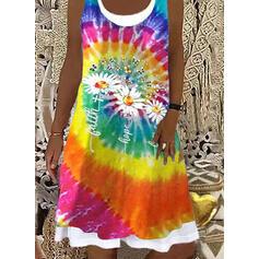 Print/Tie Dye/Letter/Animal Sleeveless Shift Knee Length Casual Dresses