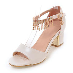Women's Leatherette Chunky Heel Sandals Pumps Peep Toe With Rhinestone Tassel shoes