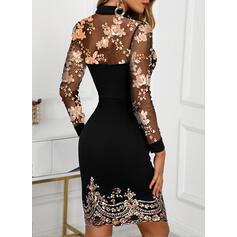 Sequins/Floral Long Sleeves Bodycon Above Knee Elegant Dresses