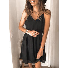Solid Sleeveless A-line Above Knee Casual Slip Dresses