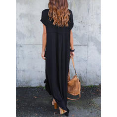 Solid Short Sleeves Shift Maxi Little Black/Casual Dresses