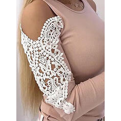 Solid Lace Cold Shoulder Long Sleeves Casual Elegant Knit Blouses