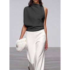 Color-block Stand collar Sleeveless Casual Elegant Jumpsuit