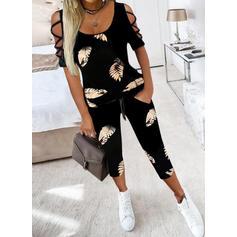 Yapraklar Imprimeu gündelik Büyük beden blouse & İki Parça Kıyafetler Set ()