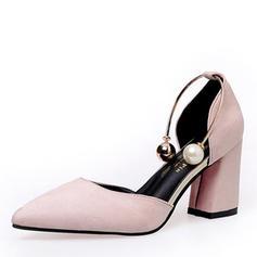 Femmes Tissu Talon stiletto Escarpins avec Pearl chaussures