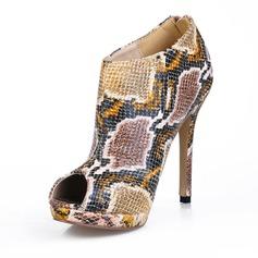 Femmes Similicuir Talon stiletto À bout ouvert Bottines avec La copie Animale chaussures