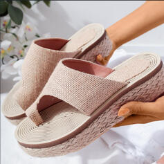 Women's PU Flat Heel Peep Toe Slippers Toe Ring With Hollow-out shoes