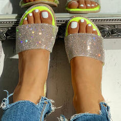 Women's PVC Flat Heel Slippers With Rhinestone Sequin shoes