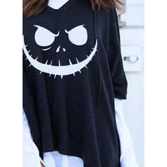 Print Color Block Halloween Long Sleeves Hoodie