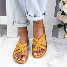 Women's PU Flat Heel Sandals Flats With Braided Strap shoes