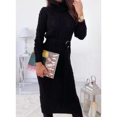 Jednolita Długie rękawy Bodycon Sweter Mała czarna/Casual Midi Sukienki