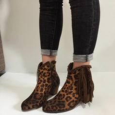 Women's PU Chunky Heel Pumps Closed Toe Boots With Animal Print Tassel shoes