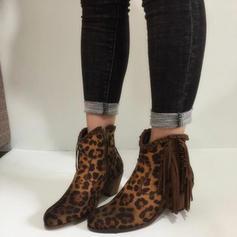 De mujer PU Tacón ancho Salón Cerrados Botas con Estampado de animales Borla zapatos
