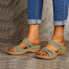 Women's PU Low Heel Slippers With Hollow-out Others shoes