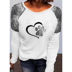 Print Sequins Heart Round Neck Long Sleeves Casual Blouses