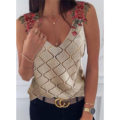 Embroidery V-Neck Sleeveless Casual Knit Tank Tops