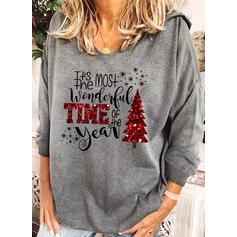 Drucken Pailletten Figur Lange Ärmel Weihnachts-Sweatshirt