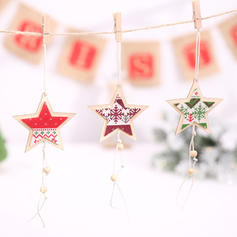 Merry Christmas Hanging Star Wooden Christmas Pendant Christmas Décor