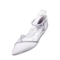 Women's Silk Like Satin Low Heel Closed Toe Flats Sandals With Buckle Rhinestone Chain