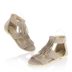 Frauen Veloursleder Flascher Absatz Sandalen Flache Schuhe Peep Toe mit Reißverschluss Quaste Schuhe