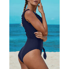 Solid Color Bowknot V-Neck Sexy Fresh One-piece Swimsuits