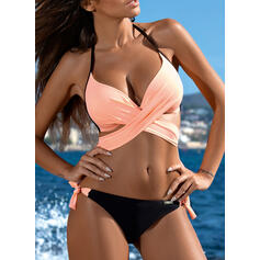 Solid Color Cross Halter V-Neck Sexy Bikinis Swimsuits