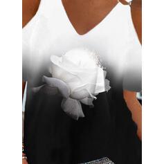Imprimeu Floral Meyil Soğuk omuz Mâneci Scurte gündelik Bluzlar