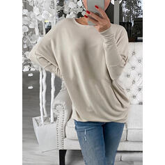 Einfarbig One Shoulder Lange Ärmel Pullover