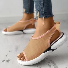 Femmes Tissu Mesh Talon plat Sandales À bout ouvert avec Ouvertes Velcro chaussures