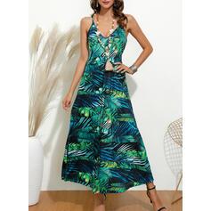 Print/Floral Sleeveless A-line Slip Casual Maxi Dresses