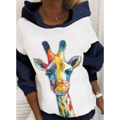 Color Block Animal Print Long Sleeves Hoodie