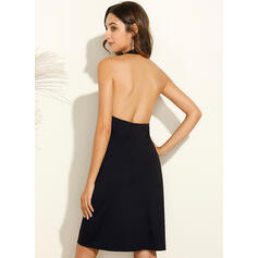 Solid/Backless Sleeveless Shift Above Knee Little Black/Casual Dresses