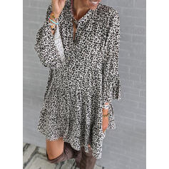 Leopard Long Sleeves/Flare Sleeves Shift Knee Length Casual Tunic Dresses